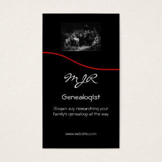 Monogram, Genealogy Business,red swoosh Business Card