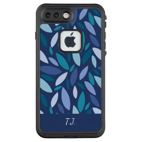 Monogram Geometric Leaf Shapes in blue green tones LifeProof FRĒ iPhone 7 Plus Case