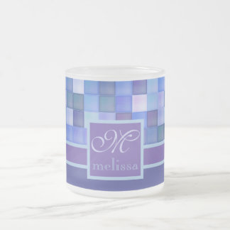 Monogram Geometric Square Tiles Blue Violet Teal Frosted Glass Coffee Mug