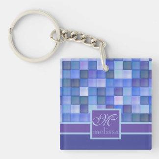 Monogram Geometric Square Tiles Blue Violet Teal Keychain