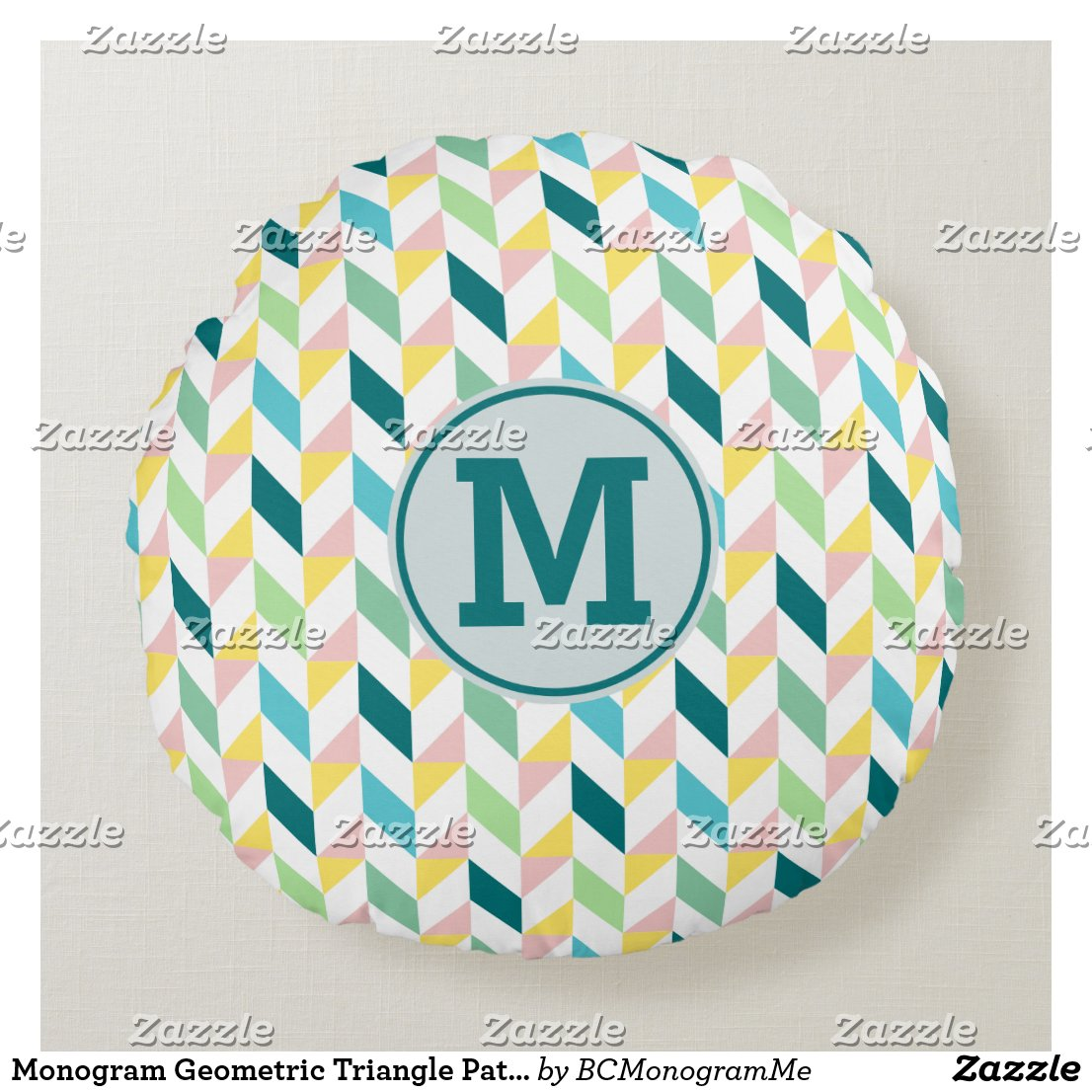 Monogram Geometric Triangle Pattern Teal Pink Mint