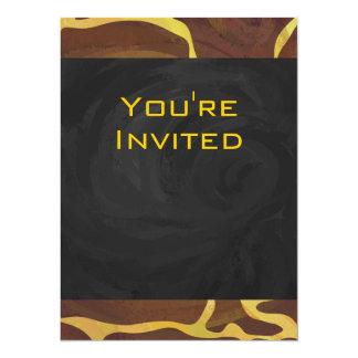 Monogram Giraffe Brown, Yellow Print Card