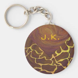 Monogram Giraffe Brown, Yellow Print Basic Round Button Keychain