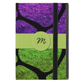 Monogram - Giraffe Print, Glitter - Green Purple iPad Mini Cover
