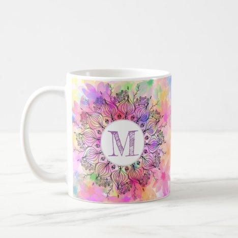 Monogram girly colorful mandala sunflower pattern coffee mug