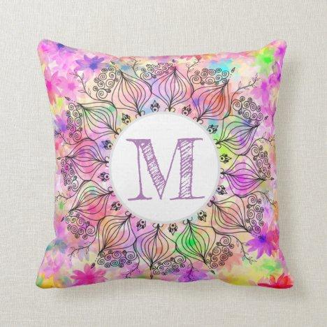 Monogram girly colorful mandala sunflower pattern throw pillow