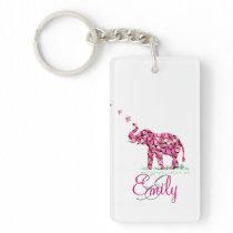 Monogram Girly Elephant Retro Flower Pink Sakura Keychain