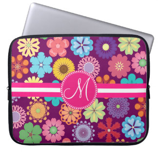 Monogram Girly Flower Power Colorful Floral Patter Laptop Sleeve