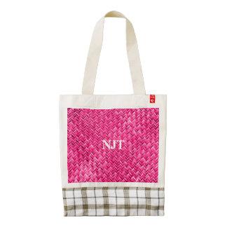 Monogram:  Girly Fuchsia Basket Weave Pattern Zazzle HEART Tote Bag