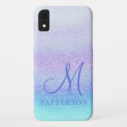 Monogram Girly Glitter Chic Sparkle Modern Name iPhone XR Case