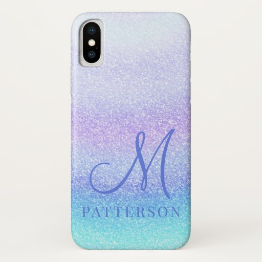 Monogram Girly Glitter Chic Sparkle Modern Name iPhone XS Case
