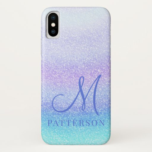 Monogram Girly Glitter Chic Sparkle Modern Name iPhone X Case