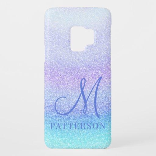 Monogram Girly Glitter Chic Sparkle Modern Name Case-Mate Samsung Galaxy S9 Case