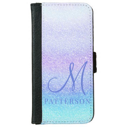 Monogram Girly Glitter Chic Sparkle Modern Name iPhone 6/6s Wallet Case
