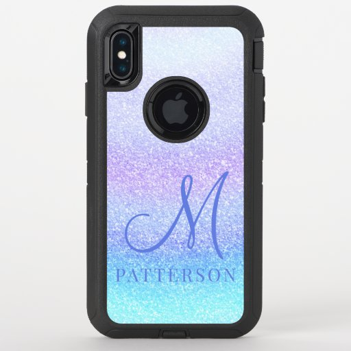 Monogram Girly Glitter Chic Sparkle Modern Name OtterBox Defender iPhone XS Max Case