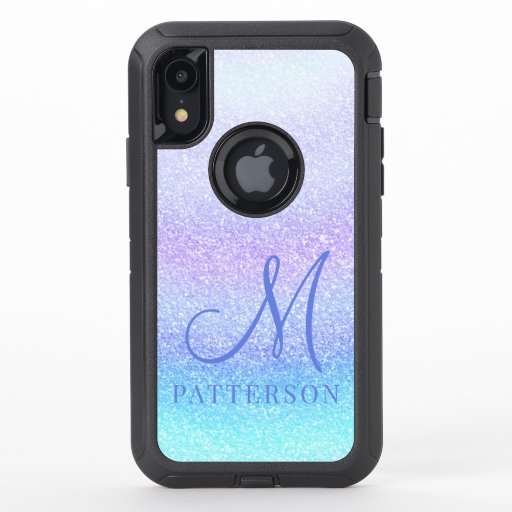 Monogram Girly Glitter Chic Sparkle Modern Name OtterBox Defender iPhone XR Case