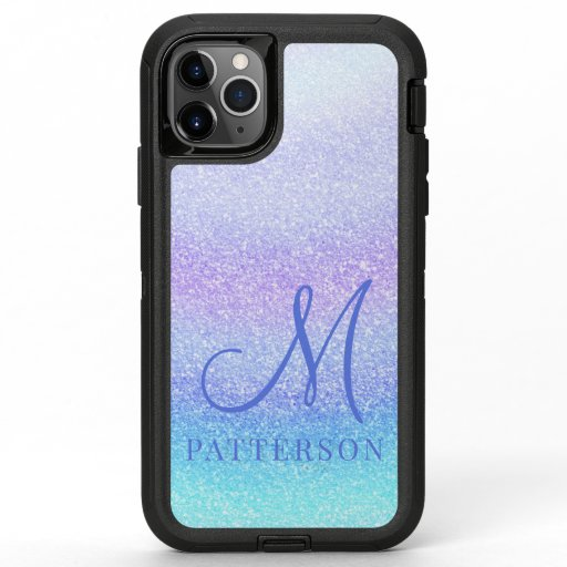 Monogram Girly Glitter Chic Sparkle Modern Name OtterBox Defender iPhone 11 Pro Max Case
