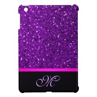 Monogram Girly Initial Cute Sparkle Pink Bling Fun iPad Mini Cover