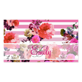 Monogram Girly Pink Floral Pattern Ombre Stripes Double-Sided Standard Business Cards (Pack Of 100)