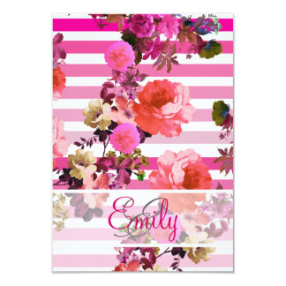 Monogram Girly Pink Floral Pattern Ombre Stripes 3.5x5 Paper Invitation Card