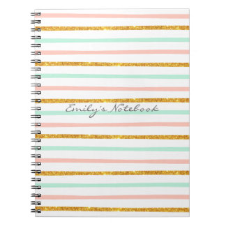 Monogram Girly Pink Gold Glitter Stripe Pattern Notebook