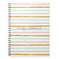 Monogram Girly Pink Gold Glitter Stripe Pattern Spiral Notebooks