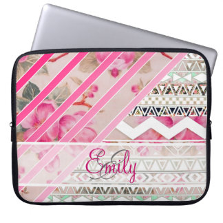 Monogram Girly Pink Stripes Floral Aztec Pattern Laptop Computer Sleeves