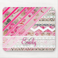 Monogram Girly Pink Stripes Floral Aztec Pattern Mouse Pad at Zazzle
