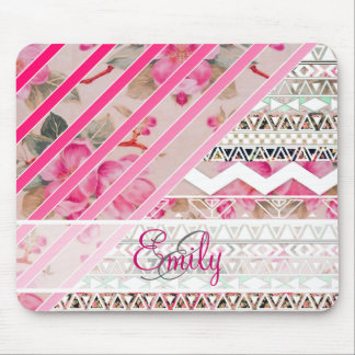 Monogram Girly Pink Stripes Floral Aztec Pattern Mouse Pad