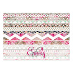 Monogram Girly Pink White Floral Aztec Pattern Business Card Template