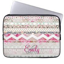 Monogram Girly Pink White Floral Aztec Pattern Laptop Sleeve