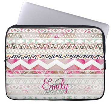 Aztec Themed Monogram Girly Pink White Floral Aztec Pattern Laptop Sleeve