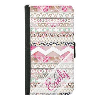 Monogram Girly Pink White Floral Aztec Pattern Samsung Galaxy S5 Wallet Case
