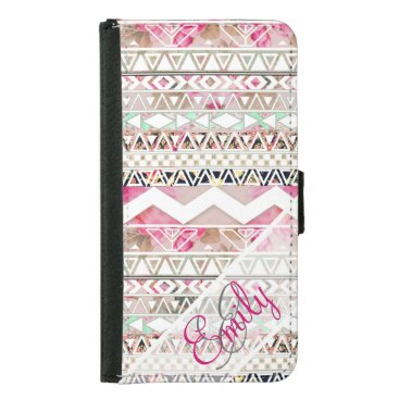 Aztec Themed Monogram Girly Pink White Floral Aztec Pattern Samsung Galaxy S5 Wallet Case