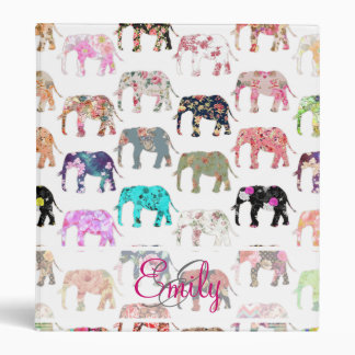 Monogram Girly Retro Floral Elephants Pattern 3 Ring Binder
