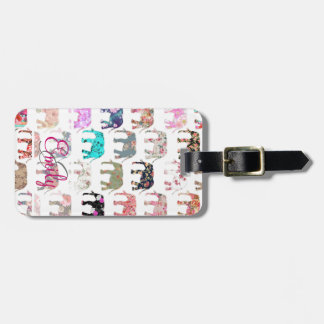 Monogram Girly Retro Floral Elephants Pattern Bag Tag