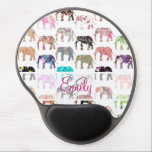 "Monogram Girly Retro Floral Elephants Pattern Gel Mouse Pad<br><div class=""desc"">Monogram Girly Whimsical Retro Floral Elephants Pattern. A vintage and retro girly monogrammed floral pattern design with whimsical and cute wild elephants animals, with pink, blue, red, yellow, teal blue, black, purple, gray, white, turquoise blue, navy blue pastel colors, lots of different floral colorful retro design with roses, lilies, tulips,...</div>"