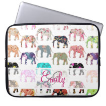 Monogram Girly Retro Floral Elephants Pattern Laptop Sleeve