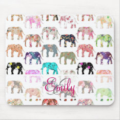Monogram Girly Retro Floral Elephants Pattern Mouse Pad at Zazzle