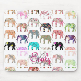 Monogram Girly Retro Floral Elephants Pattern Mouse Pad