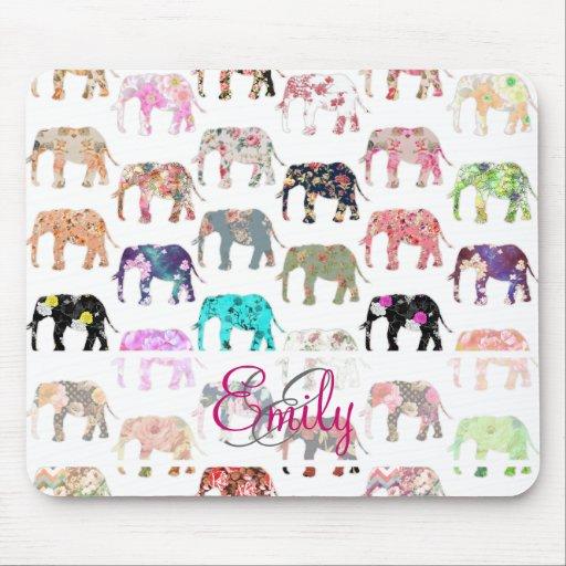Monogram Girly Retro Floral Elephants Pattern Mousepad