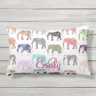 Monogram Girly Retro Floral Elephants Pattern Outdoor Pillow