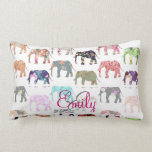 Monogram Girly Retro Floral Elephants Pattern Pillows