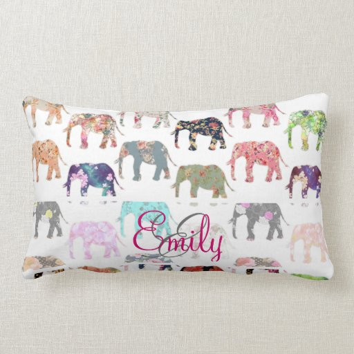 Monogram Girly Retro Floral Elephants Pattern Pillows