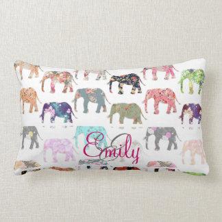 Monogram Girly Retro Floral Elephants Pattern Throw Pillow