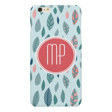 Monogram Girly Whimsical Leaves Pattern Glossy iPhone 6 Plus Case