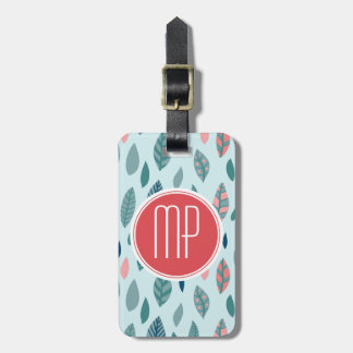 Monogram Girly Whimsical Leaves Pattern Luggage Tag