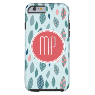 Monogram Girly Whimsical Leaves Pattern Tough iPhone 6 Case