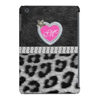 Monogram, Gitter Heart, Black White Fur iPad Cases