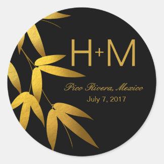 Monogram Glam Bamboo Leaves Gold Foil | black Classic Round Sticker